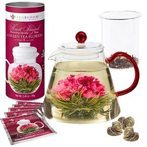 Teabloom AMORE Flowering Tea Gift Set - Stovetop Safe Glass Teapot with ... - £42.54 GBP
