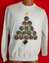 Vintage 90s Christmas Tree Button Art Ugly Christmas Sweater Sweatshirt M - $19.79