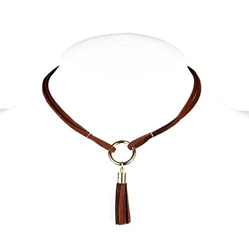 Primary image for UE- Trendy Gold Tone Brown Faux Suede Designer Choker Necklace with Tassels