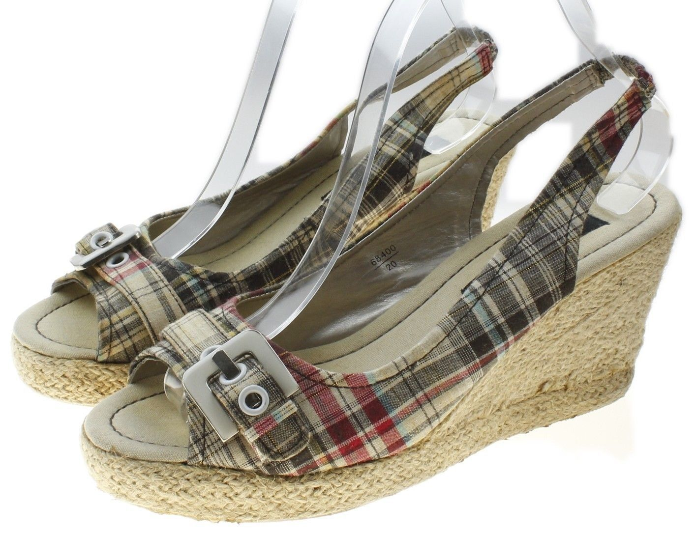 513a9d9eb American Eagle Plaid Canvas Slingback Wedge Heel Womens Size 8  68400 -   21.73