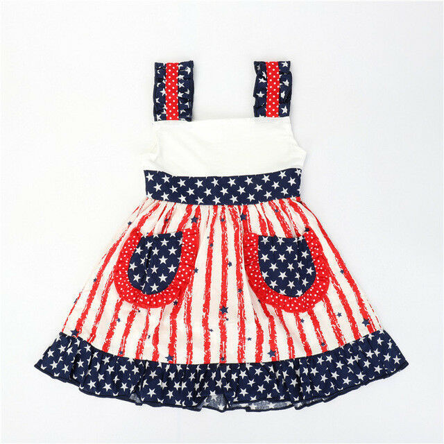 Primary image for NEW Girls Boutique Ruffle Pstriotic 4th of July Sleeveless Dress 3-4 5-6 6-7 7-8