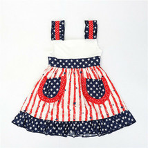 NEW Girls Boutique Ruffle Pstriotic 4th of July Sleeveless Dress 3-4 5-6... - $19.99