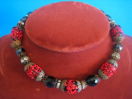 Vintage Choker Necklace Black Carnival Glass Rhinestone Spacer Red Splatter Bead - $67.72