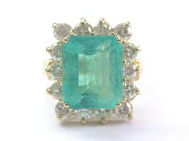 Gem Colombien Vert Émeraude & Naturel Diamant or Jaune Bijoux Bague 6.06CT - $5,150.71