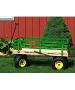 Huge GREEN Wagon with Hand Brake Beach Garden Yard Made in the USA - $480.17+
