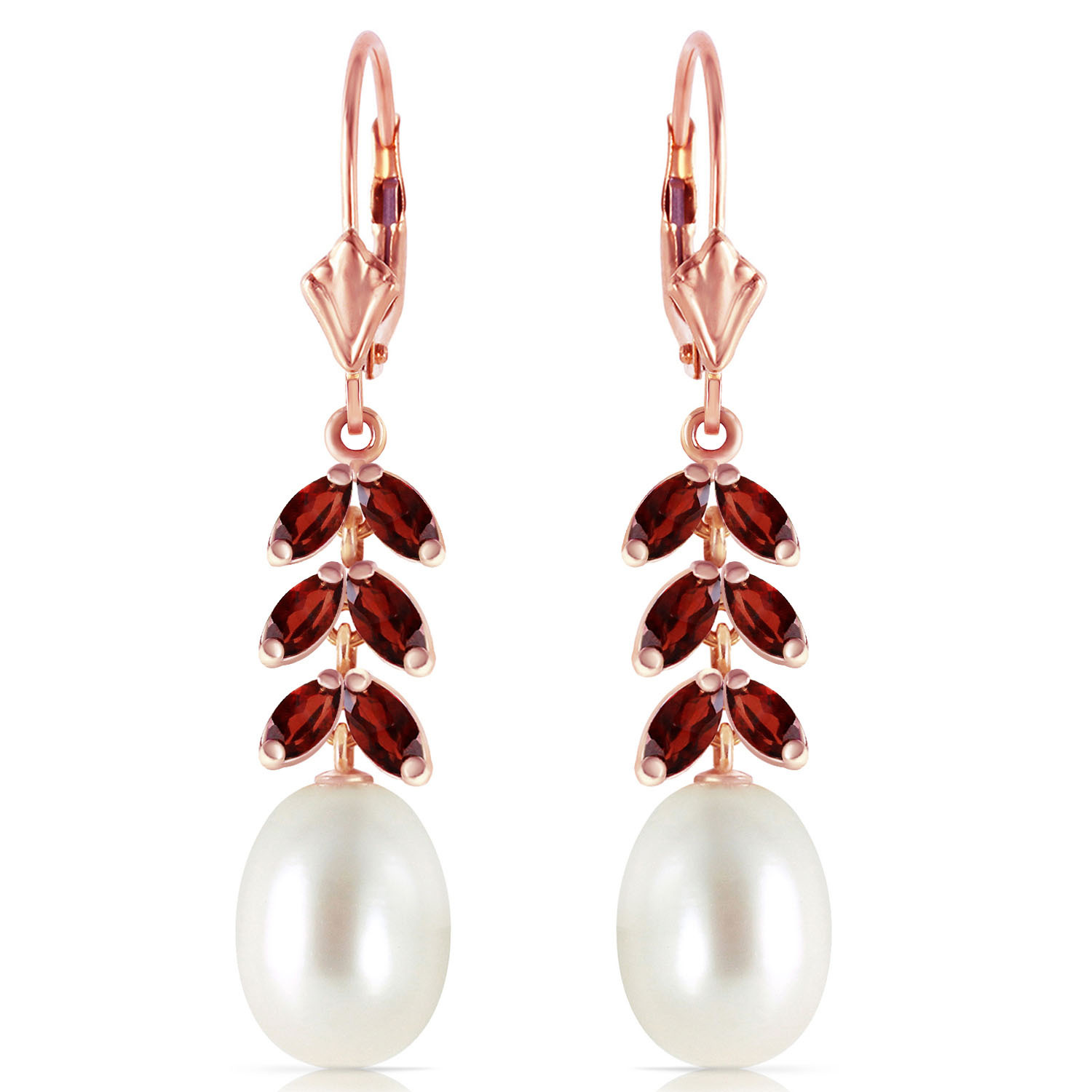 Primary image for 14K Solid Rose Gold Women's Cute Leverback Fashion Earrings w/ Garnets & pearls