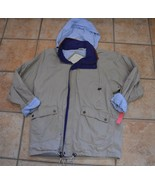 LAURA JEFFRIES KHAKI CANVAS BLUE BARN WORK JACKET RAIN COAT LEATHER TRIM... - $17.55
