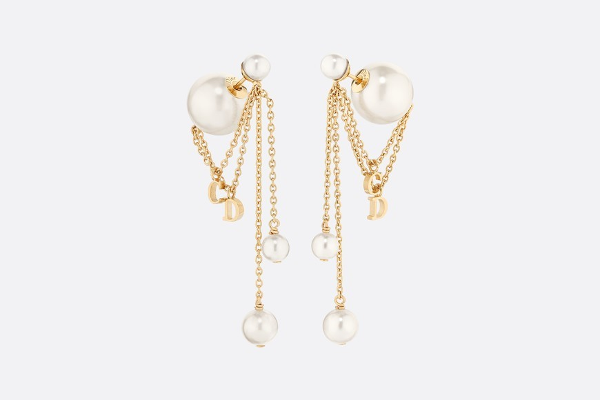 Authentic Christian Dior 2019 CD LOGO CHAIN PEARL TRIBALES DANGLE DROP Earrings
