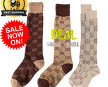 BEST!! GG Knee-High CASUAL Cotton Socks Double G LOGO WOMEN SEXUAL FASHION STYLE - ₹1,065.06 INR