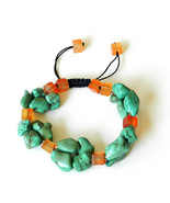 Turquoise Bracelet with Carnelian, adjustable, elegant and attractive - $70.00