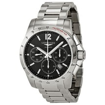 Longines Conquest Chronograph Black Dial Stainless Steel Mens Watch L27434566 - $2,522.78