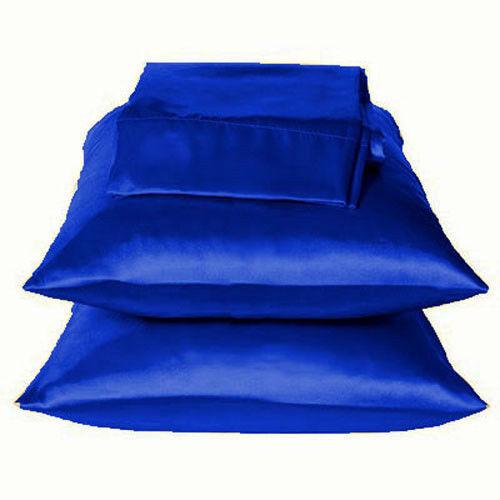 Solid Navy Charmeuse Lingerie Satin Pillowcases King
