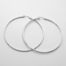 18K WHITE GOLD ROUND CIRCLE EARRINGS DIAMETER 50 MM, WIDTH 2 MM, MADE IN ITALY image 2