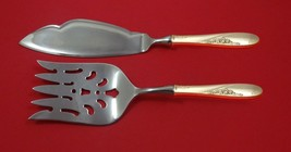 Rose Spray by Easterling Sterling Silver Fish Serving Set 2 Piece Custom HHWS - $126.65