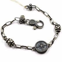 Silber Armband 925, Brüniert Matt, Pink der Zwanzig, Kompass, 18 CM image 1