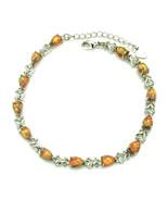 Orange Fire Opal Teardrop Tennis Bracelet Sterling Silver 925 - $47.52