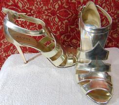 "Guess Pale Gold Vegan 6 M Stiletto Strappy 4"" Heels (TC2B0DA8G) - $24.73"