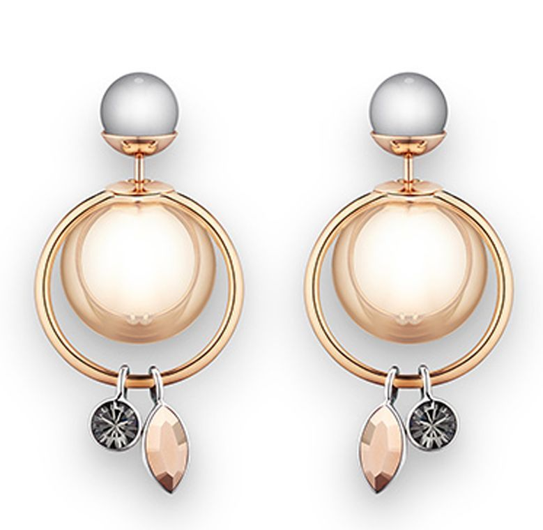 Primary image for Authentic Christian Dior 2016 Mise En Dior Crystal Dangle Pearl Tribal Earrings
