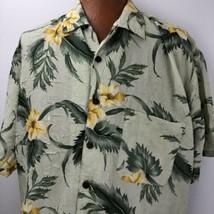 JOE MARLIN Hawaiian Aloha Crinkle Material Yellow Orchid Green Leaves Si... - $39.59