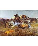 Camp Cook's Troubles Charles Russell Bucking Horse  Chuck Wagon Cowboys 36x24  - $286.11