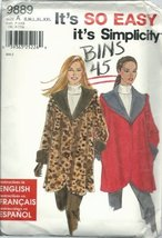 Simplicity 9889A Sewing Pattern Misses Very Easy Lined Coat Size 10-28 - $9.78