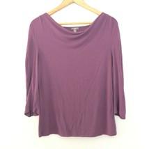 J Jill S Small Petite 3/4 Sleeve Bateau Neck Shirt Top Purple - $18.19