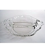 Vintage Cambridge Rose Point Handled Divided 2 Part Relish Candy Nut Bowl Dish - $7.87