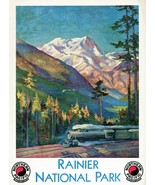 Wall Decor Poster.Home Room art design.Rainier Nation Park.Train railroa... - $10.89+