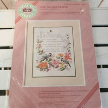 Vtg From The Heart Cross Stitch Pattern Give Thanks Prayer Chickadee 53007 11x14 - $15.00