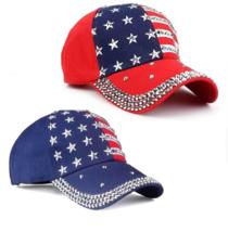 American Flag Star Pattern Baseball Cap Rivet Printed Snapback Hat - $29.99