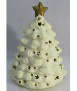 Christmas Tree Votive Holder White Snow Gold Star Tea Light Candle Bisqu... - $30.00