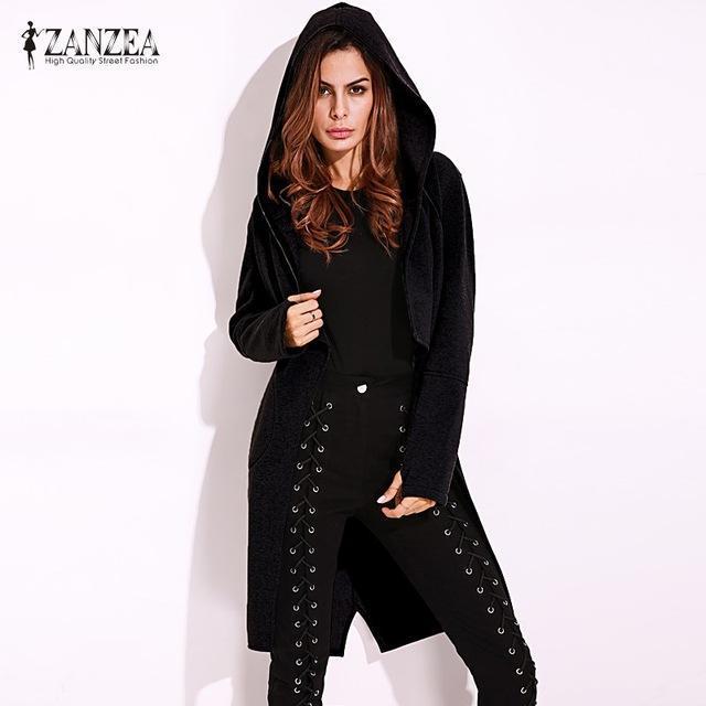 2017 ZANZEA Fashion Womens Autumn Hoodie Long Sleeve Asymmetrical Zipper Hooded
