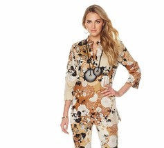 N Natori Twisted Medallion Printed Stretch Cotton Sateen Tunic, Floral, ... - $44.54