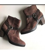 Clarks Artisan Brown Suede Leather Straps Short Heeled Ankle Boot Women ... - $64.99