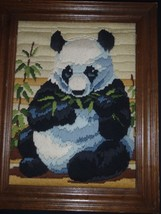 Monarch Horizons 1986 Longstitch Needlepoint Framed Completed The Panda LS 128 - $32.71