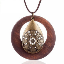 "Vintage Boho Wood and Alloy Pendant With Alloy Tear Drop 24"" Long - $7.00"
