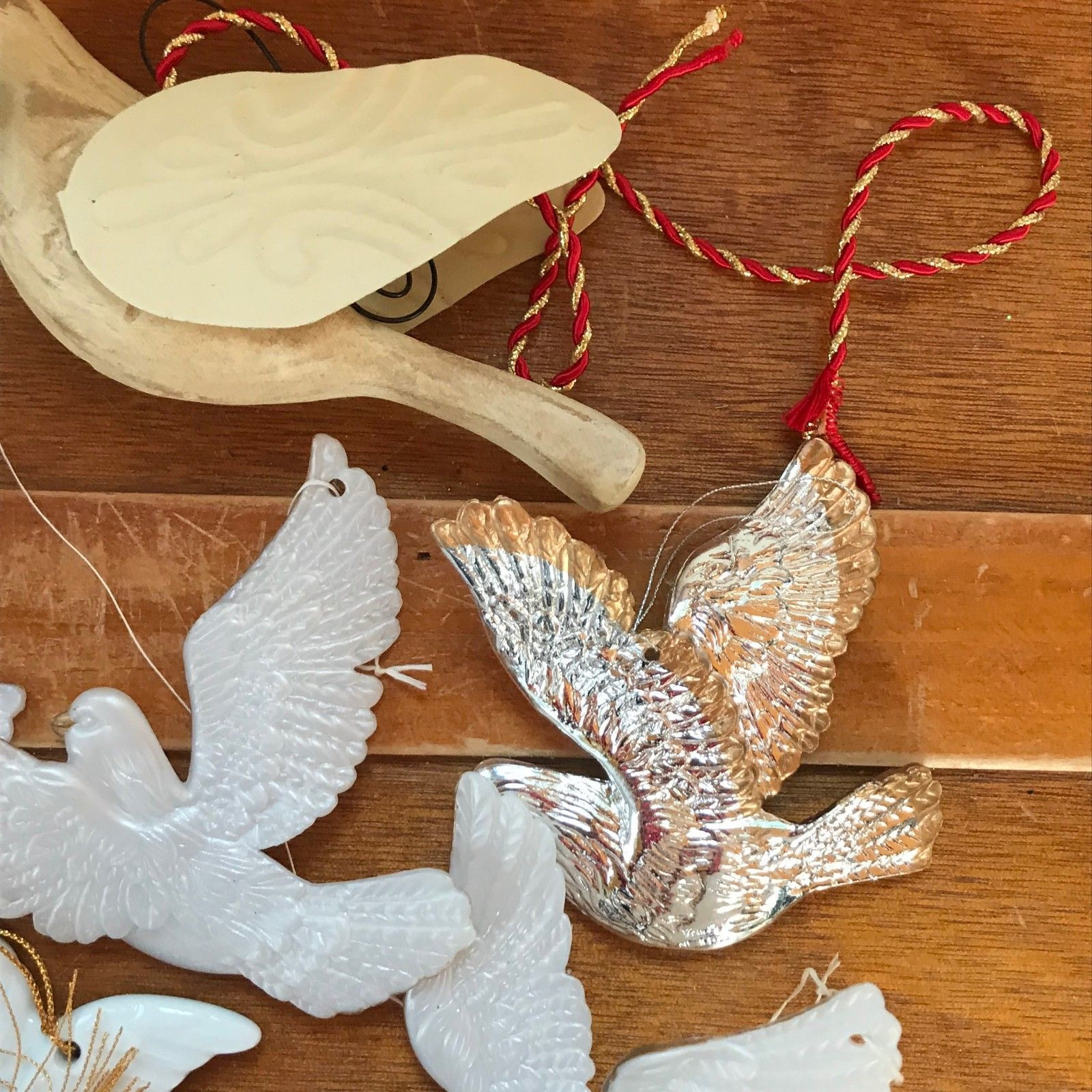 Vintage to Now Lot of Wood & Metal White & Silver Plastic Glass Peace Dove Chris