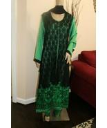 Pakistani Black & Green Silk & Net Gown Style Suit, with Net & Thread Em... - $108.00