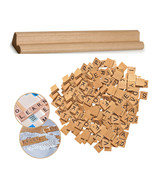 Wooden Scrabble Tiles Black Letters with 1 Small Rack Alphabet Board Game Pieces - $7.67 - $32.04