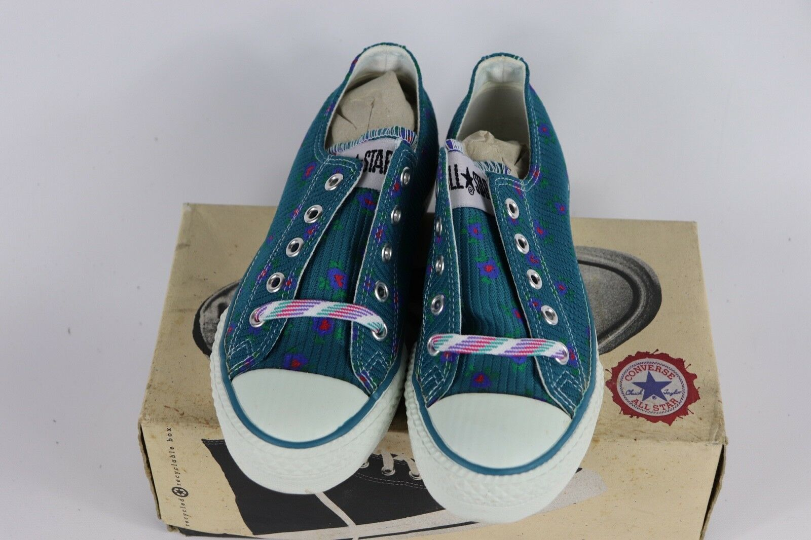 Vtg New Converse Mens 4 Wmns 6 Longjohn Print A/S Canvas Ox Chuck Taylor Shoes image 3