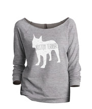 Thread Tank Boston Terrier Dog Silhouette Women's Slouchy 3/4 Sleeves Raglan Swe - $24.99+