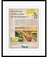 1951 Southern Pacific Train Lines San Francisco Framed ORIGINAL Advertis... - $46.39