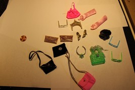 lot of Barbie Doll Accessories Gold Shoes Sunglasses Gloves Purses, Neklace - $18.95