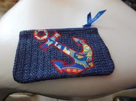 vera bradley small straw zipper pouch in Marina Paisley anchor NWOT - $25.00