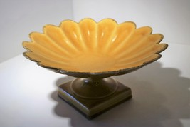 Anthony Freeman & McFarlin Pottery Yellow/Gold Flower Scalloped Compote ... - $25.00