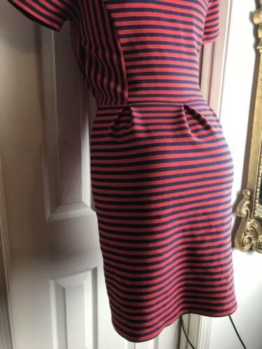 J. Crew Womens -Size 4 -Red/Navy Stripe Scoop Neck S/S Ponte Dress -A0120 image 7