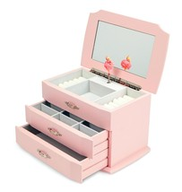Classic Girls Wooden Musical Jewelry Box with Pullout Drawers Ballerina ... - $82.70