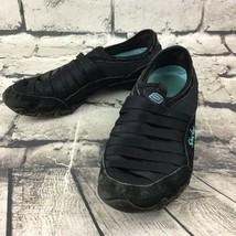 Skechers Women's Sz 6 Shoes Black Blue Leather Slip-On Athletic Sneakers - $29.69