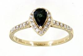 Zaffiro Blu Pera Gemma 14K Oro Giallo 0.57CT Naturale Halo Anello Diamante - $1,582.05