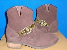 UGG Australia MILNOR Brown Suede Snake Strap Ankle Boots Size US 7.5 NEW 1006012 - $79.15